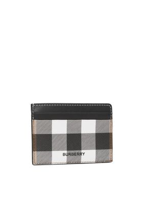 Check E-canvas and Leather Card Case, , hi-res