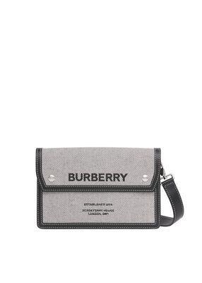 Horseferry Print Canvas and Leather Crossbody Bag