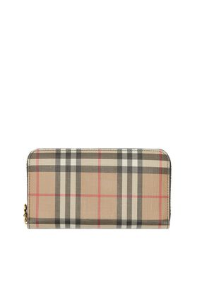 Vintage Check and Leather Ziparound Wallet