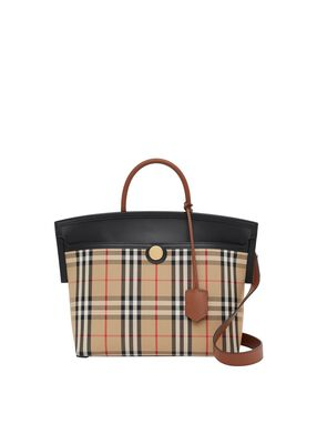 Small Vintage Check Society Top Handle Bag
