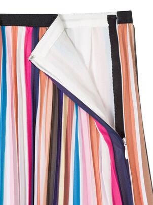 Women's Multi Stripe Pleated Skirt With Floral Hem, , hi-res