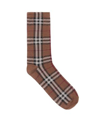 Vintage Check Intarsia Cotton Cashmere Blend Socks