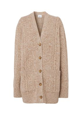 Horseferry Cable Knit Wool Cotton Oversized Cardigan