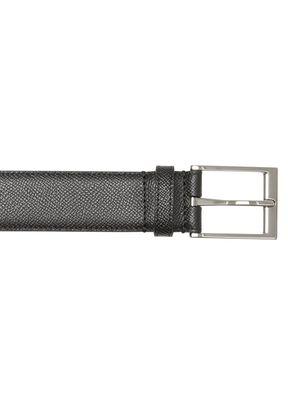 Icon Stripe Print Grainy Leather Belt, , hi-res