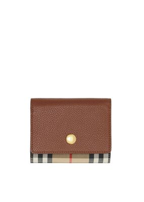 Small Vintage Check and Leather Folding Wallet