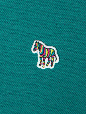 Men's Petrol Green Organic Cotton-Piqué Zebra Logo Polo Shirt, , hi-res