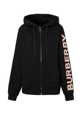Logo Print Cotton Oversized Hooded Top