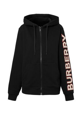 Logo Print Cotton Oversized Hooded Top, , hi-res