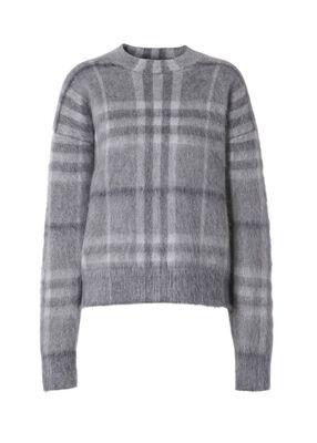 Check Mohair Silk Blend Jacquard Sweater