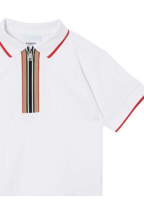 Icon Stripe Detail Cotton Zip-front Polo Shirt, , hi-res