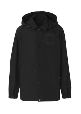 Detachable Hood Logo Graphic Lightweight Jacket