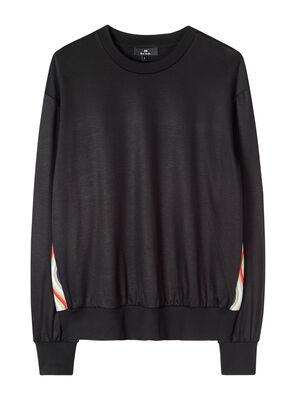 Women's Black Cotton-Blend Sweatshirt With 'Swirl' Trim