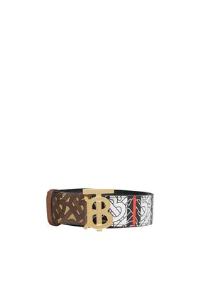 Monogram Stripe E-canvas and Leather Belt