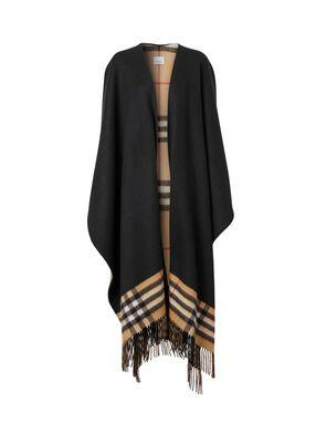 Check-lined Cashmere Merino Wool Cape