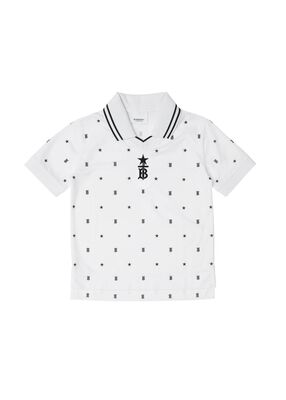 Star and Monogram Motif Jersey Mesh Polo Shirt