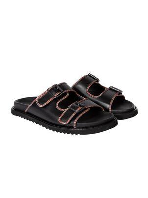 Men's Black Leather 'Phoenix' Sandals, , hi-res