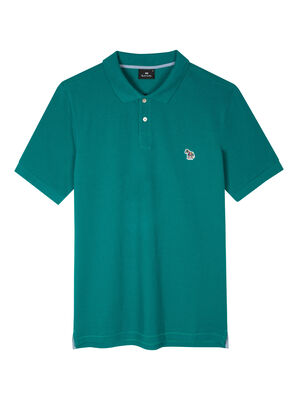 Men's Petrol Green Organic Cotton-Piqué Zebra Logo Polo Shirt
