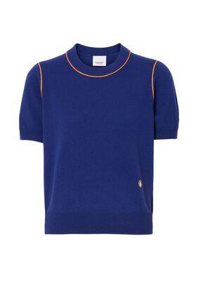 Short-sleeve Monogram Motif Cashmere Top