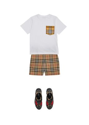 Vintage Check Pocket Cotton T-shirt, , hi-res