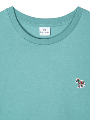 Women's Turquoise Zebra Logo Organic Cotton T-Shirt, , hi-res