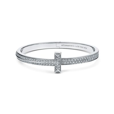 Tiffany T T1 wide diamond hinged bangle in 18k white gold, large