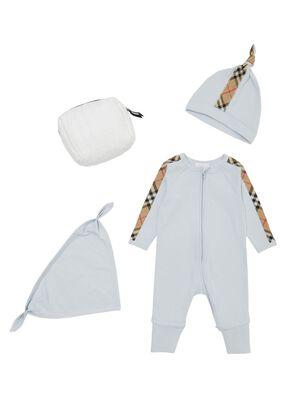 Check Trim Cotton Three-piece Baby Gift Set, , hi-res