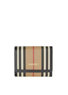 Small Icon Stripe E-canvas Folding Wallet