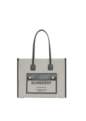 Small Two-tone Canvas and Leather Freya Bag