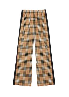 Side Stripe Vintage Check Stretch Cotton Trousers
