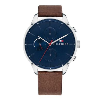 Chase Blue Chronograph Dial Brown Leather Strap Watch 1791487