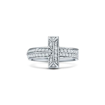 Tiffany T T1 Ring in White Gold with Diamonds, 4.5 mm Wide - Size 6