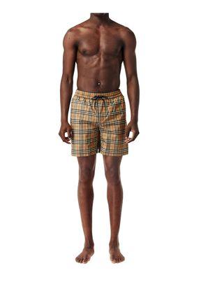 Small Scale Check Drawcord Swim Shorts, , hi-res