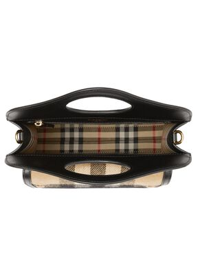 Mini Check Cashmere and Leather Pocket Bag, , hi-res