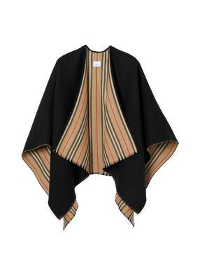 Icon Stripe Detail Wool Cape