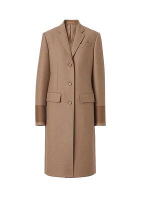 Cuff Detail Camel Hair Wool Tailored Coat