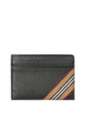 Icon Stripe Print Grainy Leather Card Case