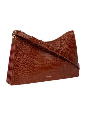 Women's Tan Mock Croc Leather Medium Trapeze Bag , , hi-res