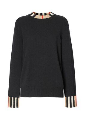 Icon Stripe Trim Cashmere Sweater, , hi-res
