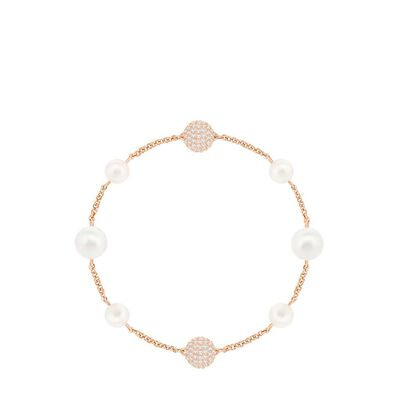 Remix Collection Mixed White Crystal Pearl Rose Gold Plating Bracelet