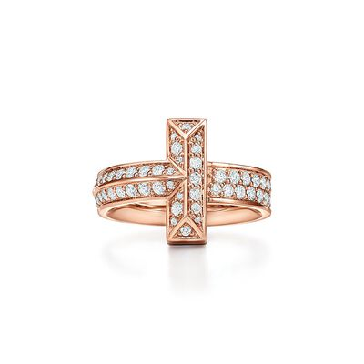 Tiffany T T1 Ring in Rose Gold with Diamonds, 4.5 mm