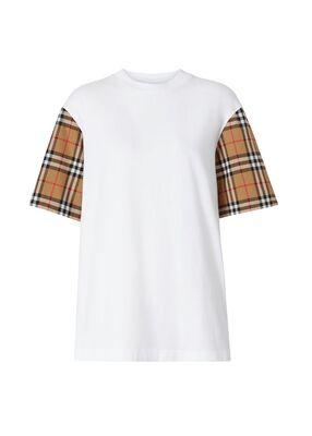 Vintage Check Sleeve Cotton T-shirt
