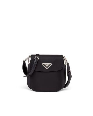 Nylon and leather shoulder bag
