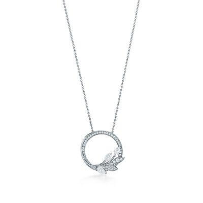 Tiffany Victoria® diamond vine circle pendant in platinum, large