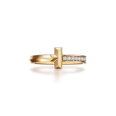 Tiffany T T1 Ring in Yellow Gold with Diamonds, 2.5 mm Wide - Size 7