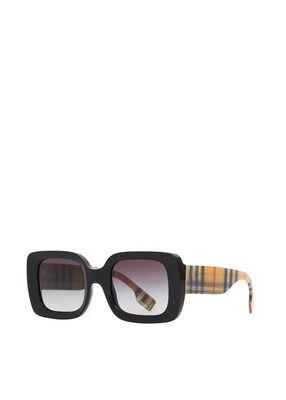 Vintage Check Detail Square Frame Sunglasses