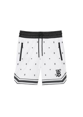 Star and Monogram Motif Jersey Mesh Shorts