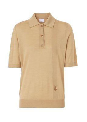 Monogram Motif Wool Silk Cashmere Polo Shirt