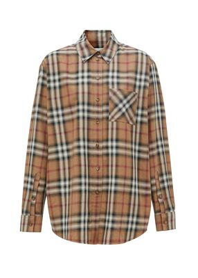 Ombré Check Cotton Twill Oversized Shirt