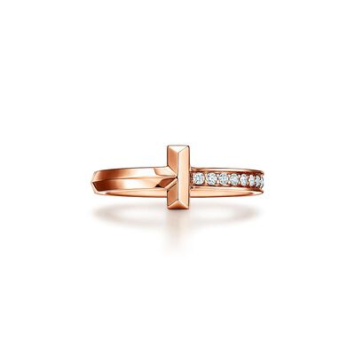 Tiffany T T1 Ring in Rose Gold with Diamonds, 2.5 mm - Size 6 1/2
