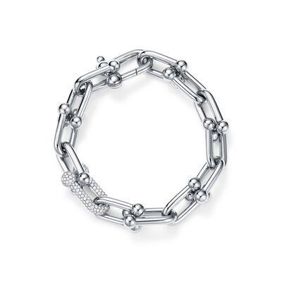 Tiffany City HardWear link bracelet in 18k white gold with diamonds, medium